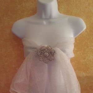 CUSTOM ORDER Sexy White Sparkle Tulle Bandeau Top